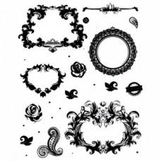 Трансфер декоративный арт.R-056 'Рамочки с розочками' черный 17х25см