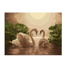 Картины по номерам Molly арт.G275 Лебединая Пара (23 Краски) 40х50 см