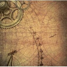 Бумага для скрапбукинга 'стимпатик' арт.CP01964  колесо 30,5х30,5см   140г/м  одностор