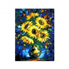 Картины по номерам Molly арт.G370 Подсолнухи На Синем (23 Краски) 40х50 см