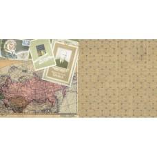 Бумага для скрапбукинга  'Привет из шестидесятых'   арт.CP02798  Карта 30,5х30,5см   160г/м  двухсто