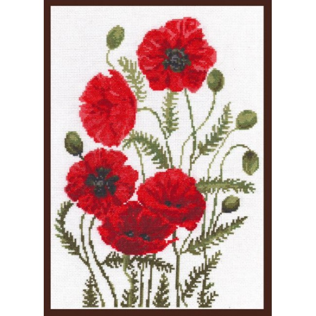Вышивка красные цветы на черном фоне 17