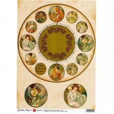 Декупажная карта арт.CH.009194 'Часы Времена года' формат А3