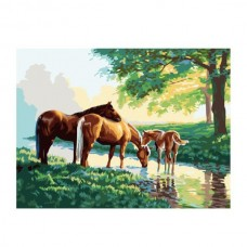 Картины по номерам Molly арт.G154 Лошади На Водопое (24 Краски) 40х50 см