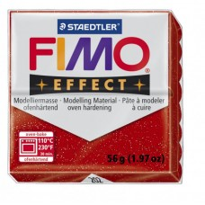 FIMO Effect полимерная глина, запекаемая в печке, уп. 56 гр. цвет: красный с блестками, арт.8020-202