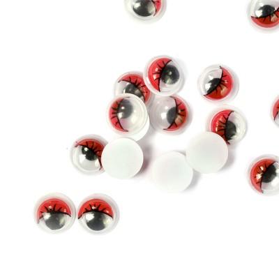 Глаза бегающие клеевые с ресницами TBY 6мм цв.красный упак 200шт.