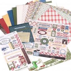 Набор бумаги арт.ADV0010 30*30 см Adventure 12 листов 1 лист со стикерами 1 лист с вырубками