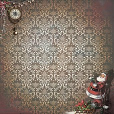 Бумага для скрапбукинга 'Мелодия рождества' арт.СРS004  2816  Санта 16,5х16,5см