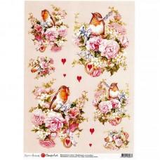 Декупажная карта арт.CH.012260 'Влюбленные малиновки' формат А3