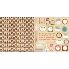 Бумага для скрапбукинга 'русское ассорти' арт.CP01210  декор и теги №2 30,5х30,5см   160г/м  двухсто