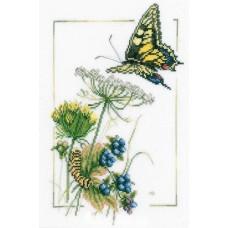 Набор для вышивания  арт.LANARTE-21869А 'Бабочки у черники' 23х32 см
